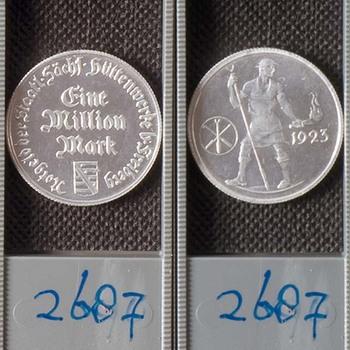 Een miljoen Mark, als noodgeld uitgegeven voor de stad Freiberg
