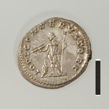 Antoninianus met Jupiter, zilveren munt uit de Romeinse tijd