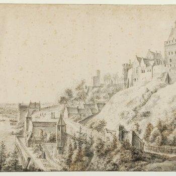 Gezicht op de Valkhofburcht en de stadsmuren aan de Waal