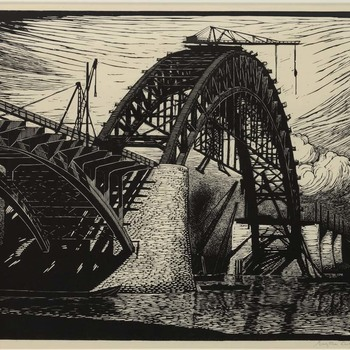 Waalbrug in aanbouw zijnde in september 1933
