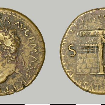 Sestertius van Nero, munt van koper uit de Romeinse tijd