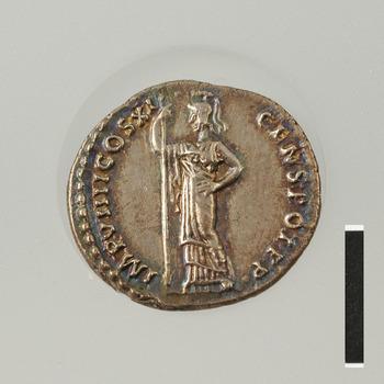 Denarius met Minerva, zilveren munt uit de Romeinse tijd