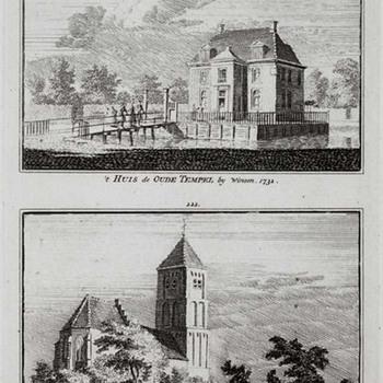 Huis De Oude Tempel bij Winssen en de kerk in Winssen