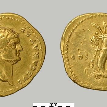 Aureus van Domitianus, munt van goud uit de Romeinse tijd