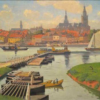 Gezicht vanaf Lent op Nijmegen