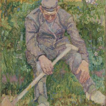 Rustende boer met spade