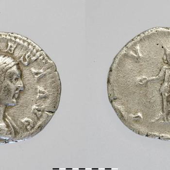 Denarius van Julia Maesa, munt van zilver uit de Romeinse tijd