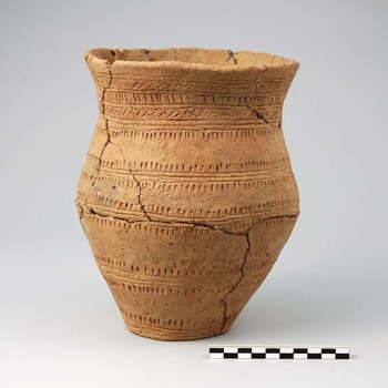 Klokbeker van aardewerk uit de prehistorie