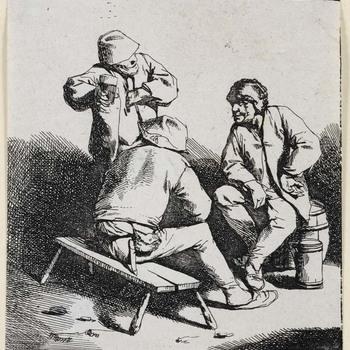 Drie drinkende mannen