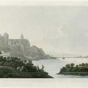 Gezicht vanuit het oosten op Nijmegen met de schipbrug over de Waal in 1794