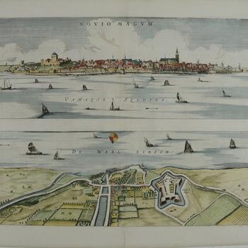 Gezicht op Nijmegen en vogelvluchtgezicht van de overkant van de Waal