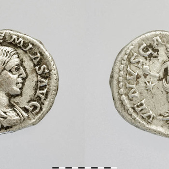Denarius van Julia Soaemias, munt van zilver uit de Romeinse tijd