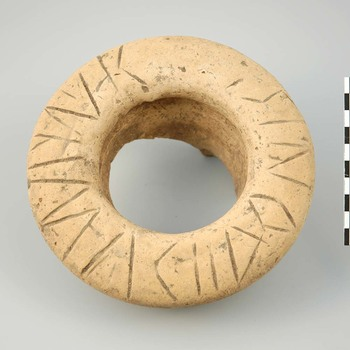 Rand van een amfoor van aardewerk uit de Romeinse tijd, met inscriptie
