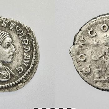 Denarius van Aquilia Severa, munt van zilver uit de Romeinse tijd