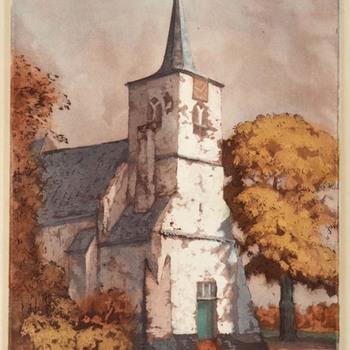 Gezicht op de toren van de Nederlands Hervormde Kerk te Heumen