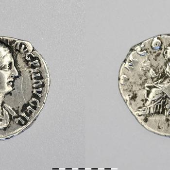 Denarius van Faustina II, munt van zilver uit de Romeinse tijd