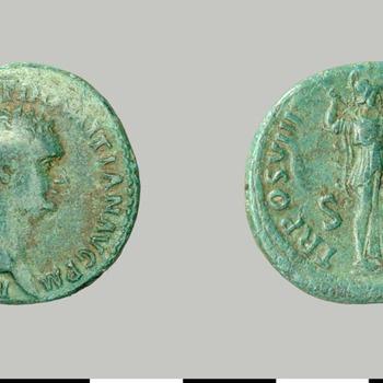 As van Domitianus, munt van koper uit de Romeinse tijd