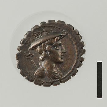 Denarius met Mercurius, zilveren munt uit de zeer vroege Romeinse tijd