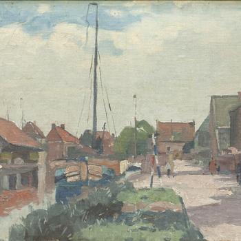 Schilderij met daarop een gezicht op de haven van Nijkerk, 1929