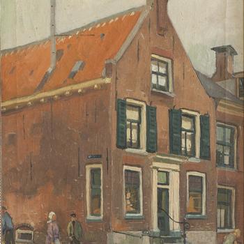 Schilderij met daarop de hoek Langestraat-Kerkstraat in Nijkerk, 1922