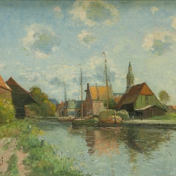 Schilderij met daarop de haven van Nijkerk, 1926