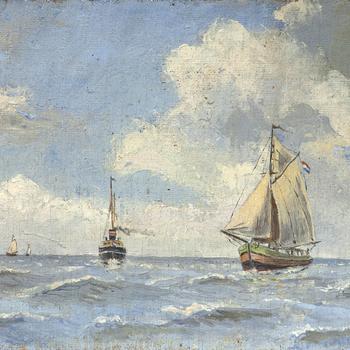 Schilderij met daarop het IJsselmeer met zeilboten, 1948