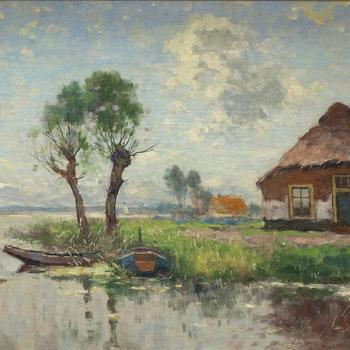 Schilderij met daarop een boerderij aan het water
