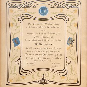 Getuigschrift over een erelidmaatschap van de Nijkerkse Oranjevereniging, 1913