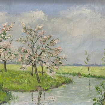 Schilderij met daarop een gracht met fruitbomen in Nijkerk, 1950