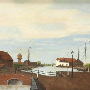 Schilderij met daarop de Kolk en haven van Nijkerk, met watertoren