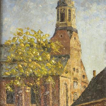 Schilderij met daarop de Grote Kerk van Nijkerk, 1940