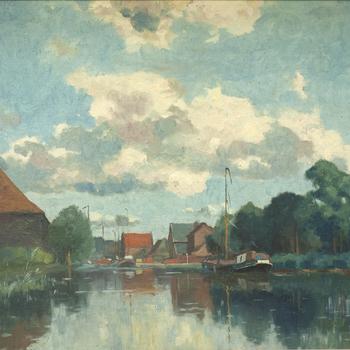 Schilderij met daarop de haven van Nijkerk, 1909