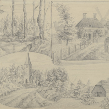 Collage met 4 tekeningen van Ermelo [toegekende titel]