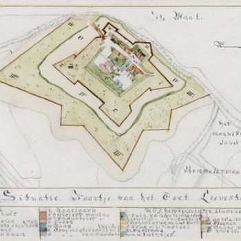 Situatie Kaartje van het Fort Loevestein, 1843