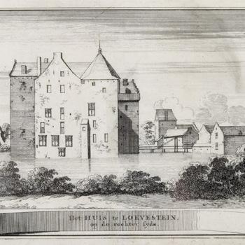 Loevestein vanuit het zuiden, kopergravure, 1711