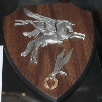 Herdenkingsplaquette met daarop het Pegasus embleem en het embleem van de 1st Zelfstandige Poolse Parachutisten Divisie