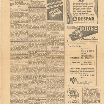 """Advertentie-pagina uit een krant van september 1945"""""""