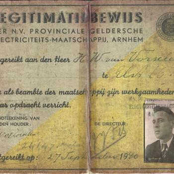 Legitimatiebewijs der N.V. Provinciale Geldersche Electriciteits-Maatschappij, Arnhem, uitgereikt aan den heer H.W. van Vorselen te Elst.