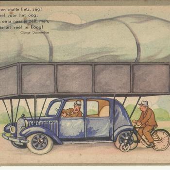 geïllustreerde kaart met een tekst van Clinge Doorenbos. Wat heb jij een malle fiets zeg, 't is een gruwel voor het oog, och kijk eerst eens naar je zelf, man, want jouw gas zit veel te hoog