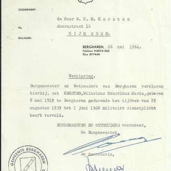 Verklaring van de gemeente Bergharen dat W.H.M. Kersten gedurende het tijdvak van 29 augustus 1939 tot 1 juni 1940 militaire dienstplicht heeft vervuld