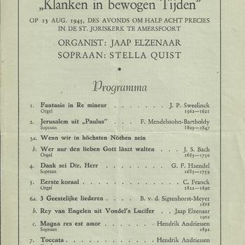 programma van het Concert, klanken in bewogen tijden op 13 augustus 1945 te Amersfoort