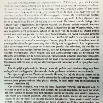 Pagina van boek over Februaristaking met begin hoofdstuk VIII Na de staking. Tekst achterop: geen.