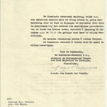 Brief van de Commissie Onderzoek Waalbrug C.O.W. te 's-Gravenhage aan Mevrouw W.M. Peeters-van Wegen te Herwen en Aerdt betreffende een getuigenverhoor aangaande het onderzoek waarom de grote verkeersbrug over de Waal te Nijmegen in september 1944 niet is gesprongen bij het naderen van Amerikaanse parachutisten en later Britse tanks