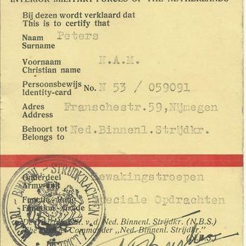 Verklaring dat N.A.M. Peters, Franschestraat 59 te Nijmegen behoort tot de Nederlandsche Binnenlandsche Strijdkrachten