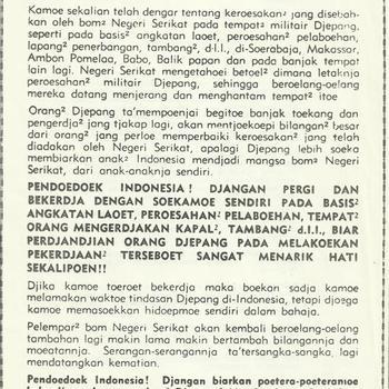 Nasihat Jang Amat Penting, Nederlandse vertaling van een pamflet dat o.m. door Nederlandse vliegtuigen werd uitgeworpen boven bezet Indonesië
