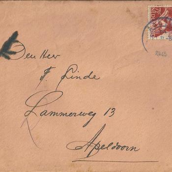 brieven voor de familie Linde van der Meij te Apeldoorn periode 1944 - 1945  brief  12 t/m 20