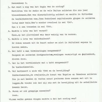 Interview over de oorlog met mijn oma  door een leerling van de basisschool 't Vossenhol te Groesbeek