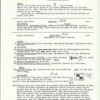 Verslag betreffende de omstandigheden in de periode april, mei , juni  1944 in de steden, Loenen, Abcoude, Amsterdam, Maarsen, Breukelen, Nieuwersluis, Franeker, Hoorn.
