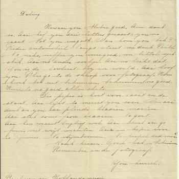 """Handgeschreven transcriptie van """"Brief van een Hollands meisje aan een Canadese soldaat 1945."""""""