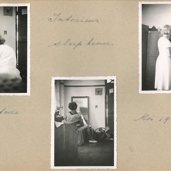 'Interieur slaapkamer' leden Vrouwenkorps KNIL mei 1949, Nederlands-Indië, 3 foto's